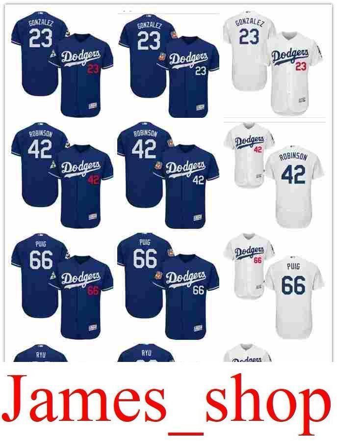 online retailer 432c6 071ca 2019 custom Men s women youth Majestic LA Dodgers Jersey #99 Hyun-Jin Ryu  66 Yasiel Puig 42 Jackie Robinson 23 Adrian Gonzalez Baseball