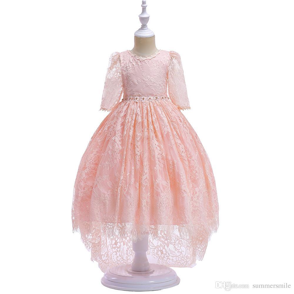 9e904fe43 Compre Vestido De Encaje Para Niñas Pequeñas Flores Flores Encaje  Swallowtail Vestido De Princesa Sin Mangas Vestido De Novia Sin Espalda A   34.18 Del ...