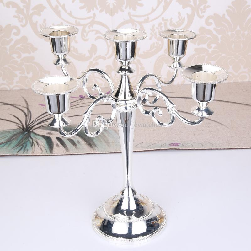 Silver/Gold/Black/Bronze Color Metal Candle Holder 5-arms Candle Stand Wedding Candlestick Candelabra Party Favor
