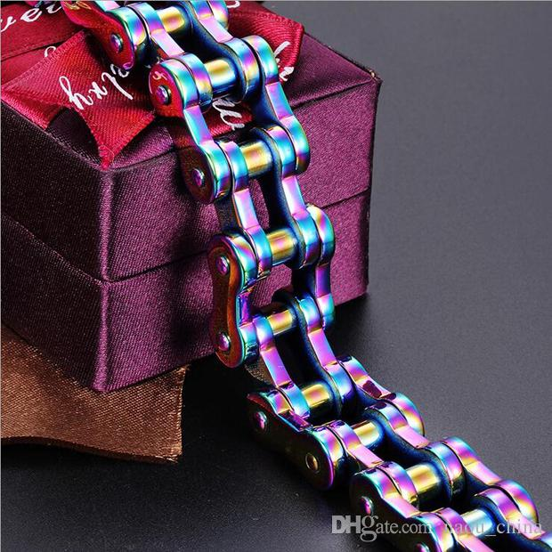 Hot sell 19mm Wide Men's Boys Rainbow color Motor Bike Chain Motorcycle Chain titanium Stainless Steel Biker Bracelet Bangle Jewelry