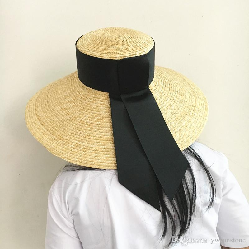 51479292a Summer Unisex Handmade Straw Flat Top Caps Women Large Wide Brim Raffia Hat  With Bow Beach Caps Sun Protection Baby Hats Bucket Hats For Men From  Ywsunstone ...