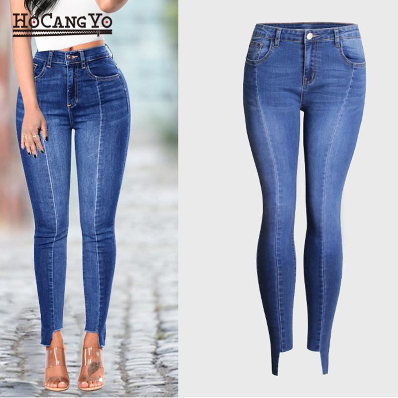 e8abfdc30d624 2019 HCYO Plus Size S 4XL Spring Women Jeans Trousers High Waist Bleached  Washed Casual Denim Jeans Female Slim Stretch Denim Pants From Bigseaa