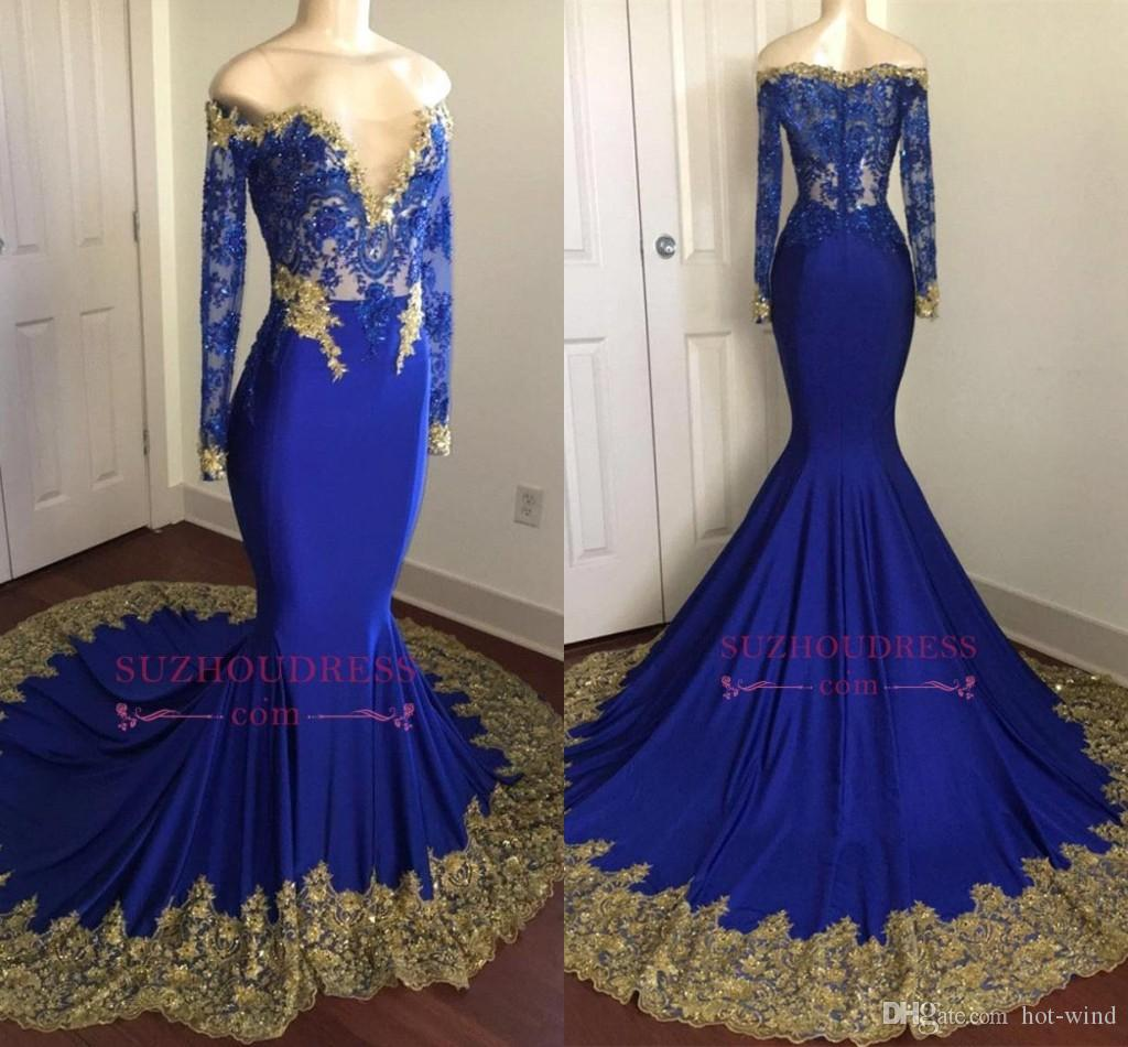Sparkly Royal Blue Mermaid Sequins Prom Dresses 2018 Off Shoulders V