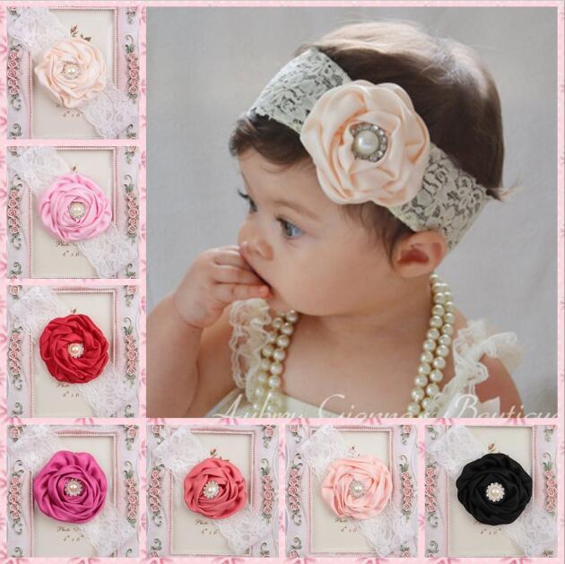Großhandel Neue Baby Infant Blume Perle Stirnbänder Mädchen Spitze ...
