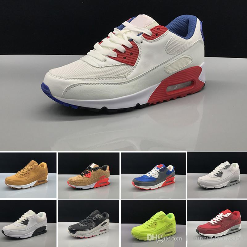 nike air max 90 airmax Zapatillas de deporte para hombre Zapatos clásicos 90 Hombres y mujeres Zapatos casuales Negro Rojo Blanco Entrenador