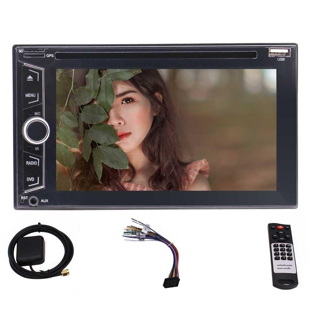 Wireless Rear Camera+EinCar 6.2'' Double 2Din Car DVD Player Navigation Bluetooth DVD/US Card 1080P Playing & USB/SD FM/AM/RDS Radio