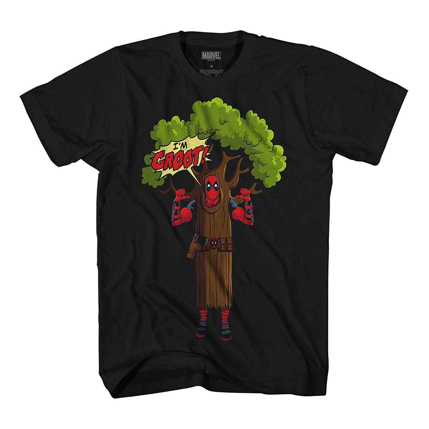 a86f8ed2281 Marvel Deadpool I am Groot Logo Mens T-Shirt Hip Hop Novelty T Shirts Men S  Brand Clothing top tee