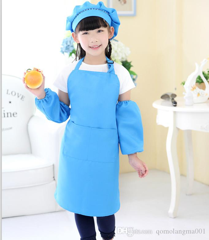 Venta caliente es entrega gratuita delantal infantil bolsillo artesanía cocina arte de hornear pintura cocina comedor babero bolsillo JD001