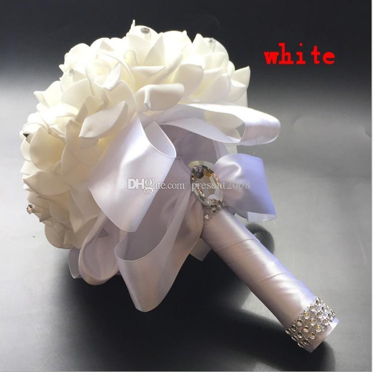 Yeni Kristal Beyaz Gelin Düğün Buketler Boncuk Gelin Holding Çiçekler El Yapımı Yapay Çiçekler Gül Gelin nedime