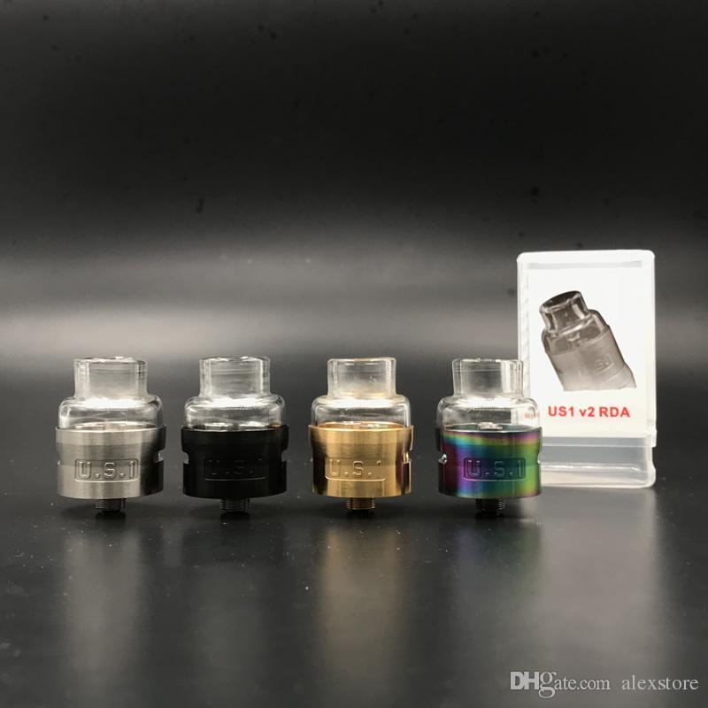 Newest US1 2.0 RDA Clone U.S.1 Atty Rebuildable Atomizer Pyrex Glass Caps 24mm fit 510 Vaporizer Vape DHL
