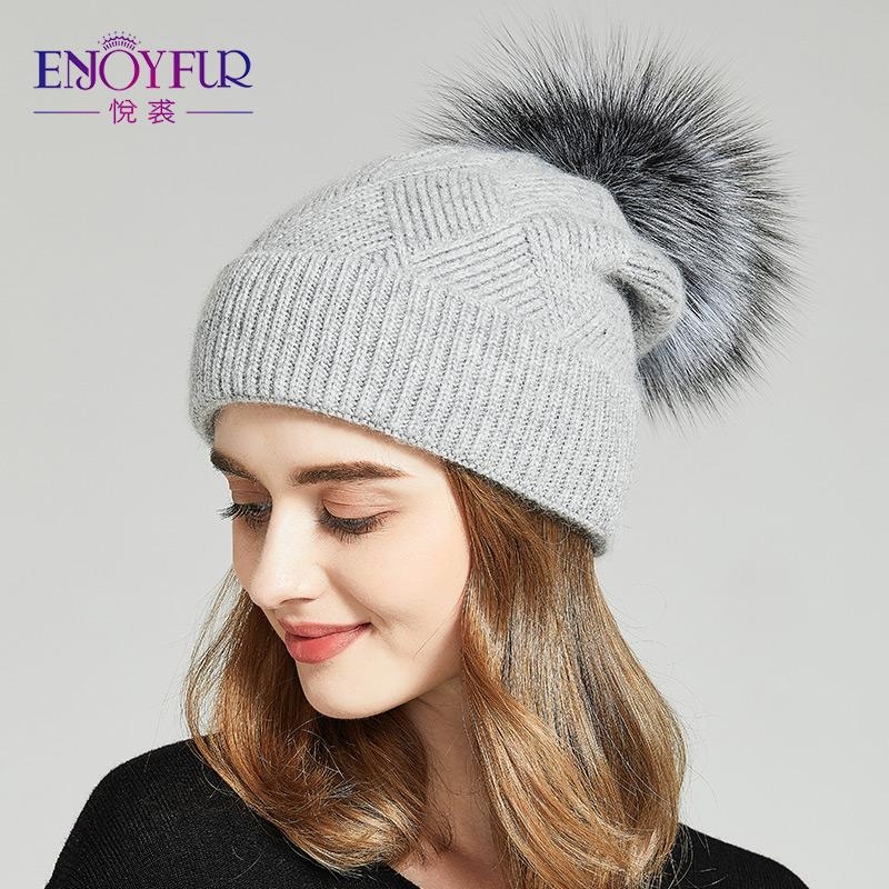 cc62e595ff1 ENJOYFUR Winter Hats For Women Natural Fur Pompom Hat Warm Wool Slouchy  Beanies For Female Fashion Skullies Lady Hats 2018 Baseball Caps Snapback  Hats From ...