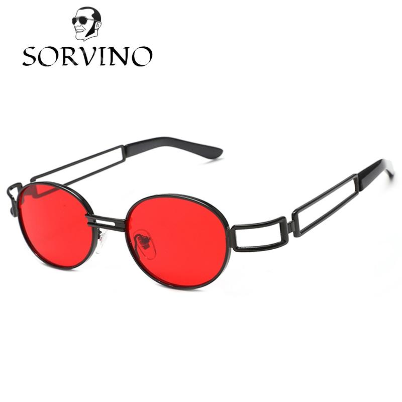 4f9d360a17 SORVINO 2018 Red Small Oval Sunglasses Men Women Brand Designer Fashion  Steampunk 90S Slim Narrow Lens Sun Glasses Vintage Retro Shades Glass  Frames Online ...