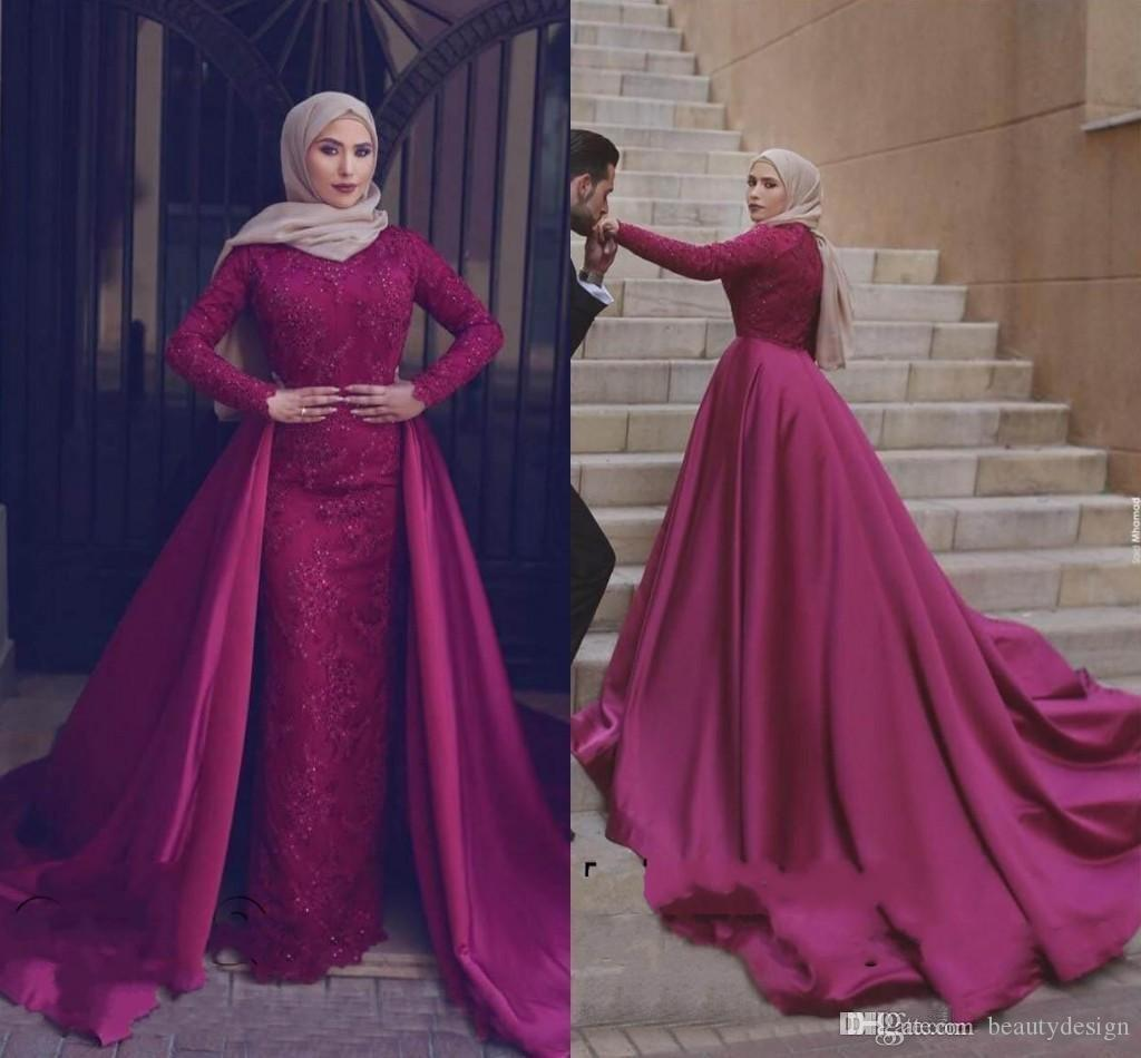 2018 Muslim Long Sleeves Evening Dresses With Detachable Train Sheath Lace  Beaded Prom Dress Long Arabic Formal Party Wear Plus Dresses Plus Size  Formal ... 131824da98e5