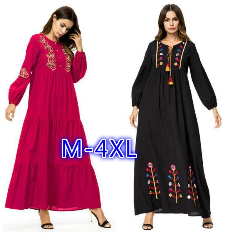 a648355e95c 2018 Muslim Women Fashion Large Size Abaya Dress Ankle Length Dress Long  Sleeve Islamic Clothing Plus Size Embroidery Maxi Dress M 4XL Sundress Gold  Dress ...