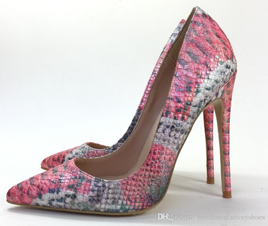 f2f64e9616d9 2018 Fashion Women Red Pumps Snakeskin Print High Heels 12cm Heel Point Toe  Dress Shoes Mix Color Party Wedding Shoes Women Pumps Wedding Shoes High  Heels ...