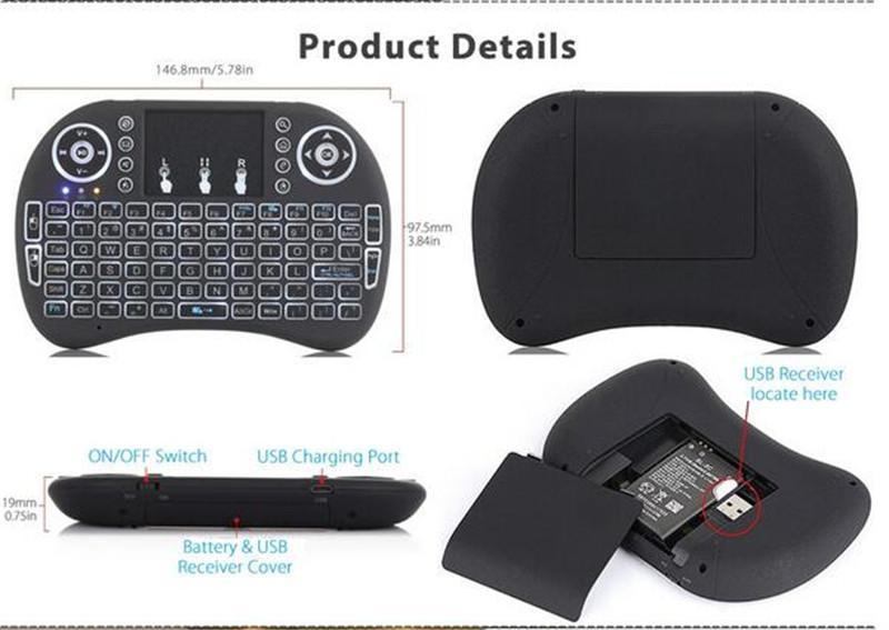 Rii I8 Smart Fly Air Souris Télécommande colorée Rétro-éclairage 2.4GHz Sans Fil Bluetooth Clavier Télécommande Touchpad Pour TV Android Box