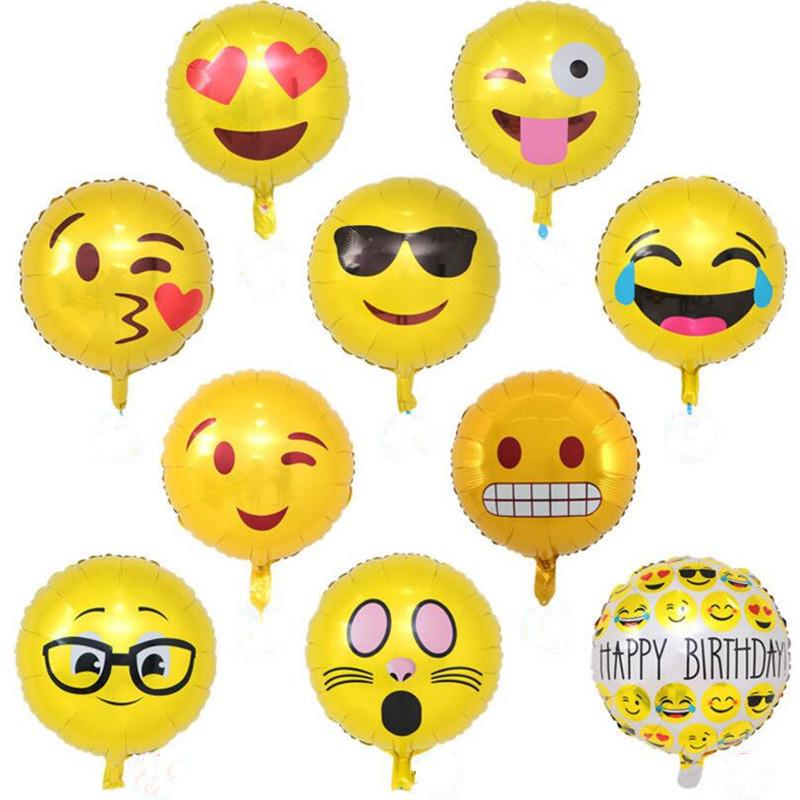 18 Inch inflatable air emoji balloon bubble foil balloons high quality  emoji helium balloon birthday party decorations ballons wholesale