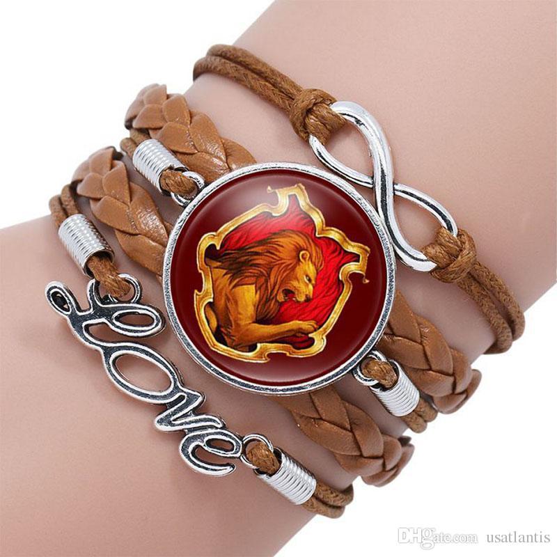 Harry Infinity Wrap Bracelet Badge Gryffondor Poufsouffle Serdaigle Serpentard Serpentard Cabochon Bracelet Designer Bracelets Bijoux Fantaisie