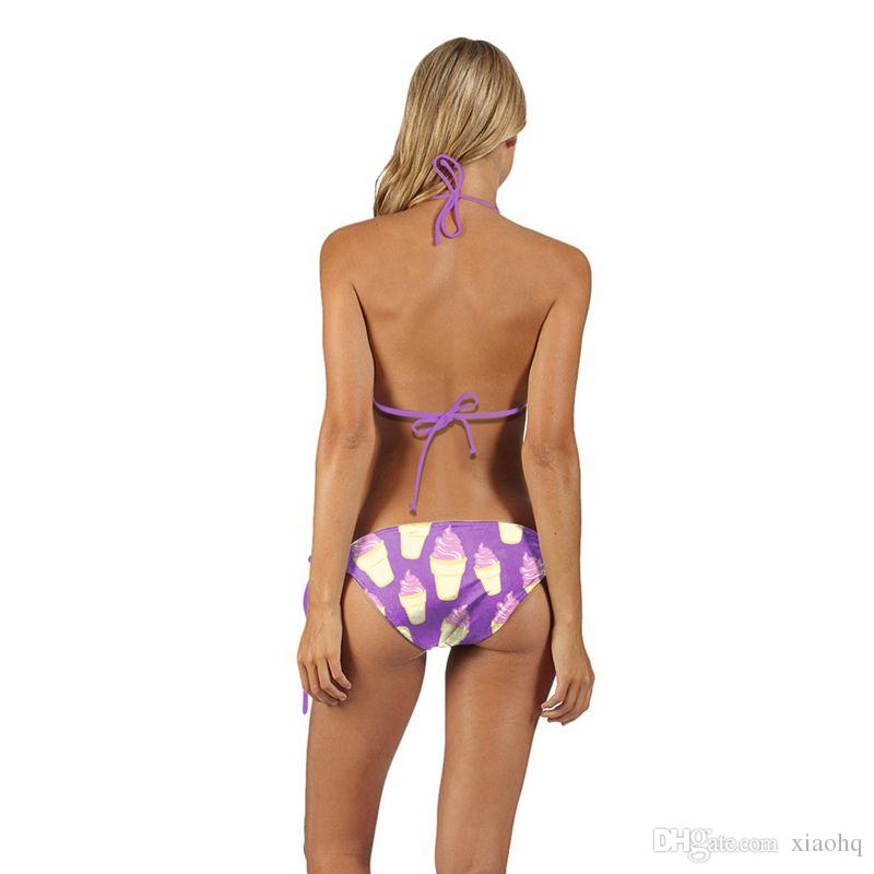 New Arrival Sexy Girl Summer Lavender Ice Cream 3D Prints Thongs Ropes Bikini Set Swimsuit Swimwear Women Bathing Suit
