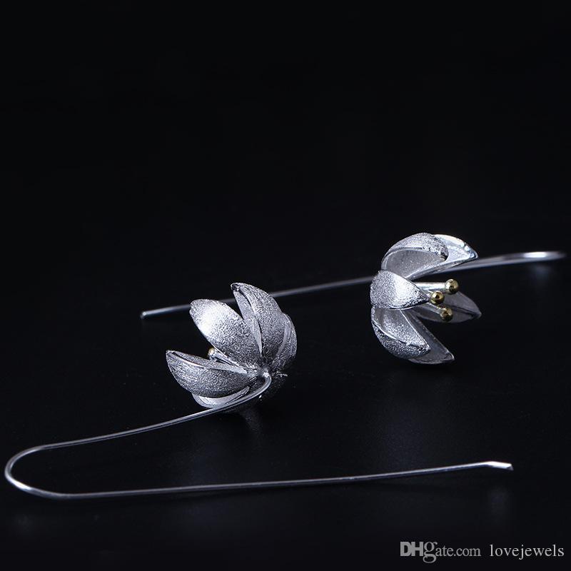 Yeni varış 925 Ayar Gümüş Küpe moda 14 K Altın Pomelo Çiçek Küpe çiviler çin'den çin charm toptan kadın takı