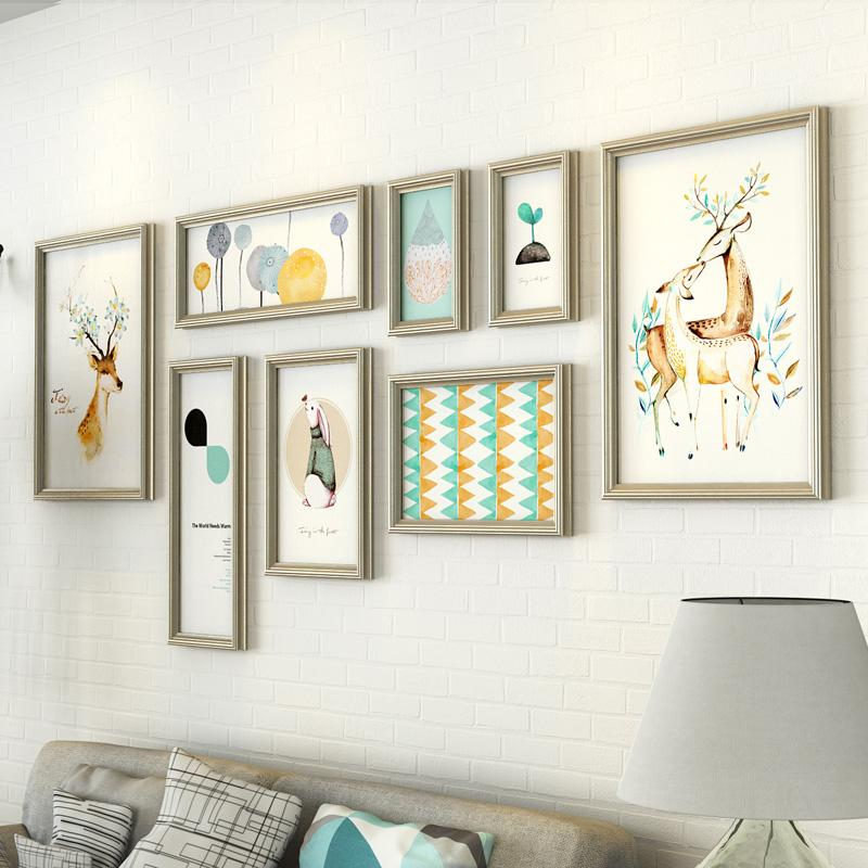 2018 Large Size Wapiti Pattern Wall Photo Frames Combination Vintage ...