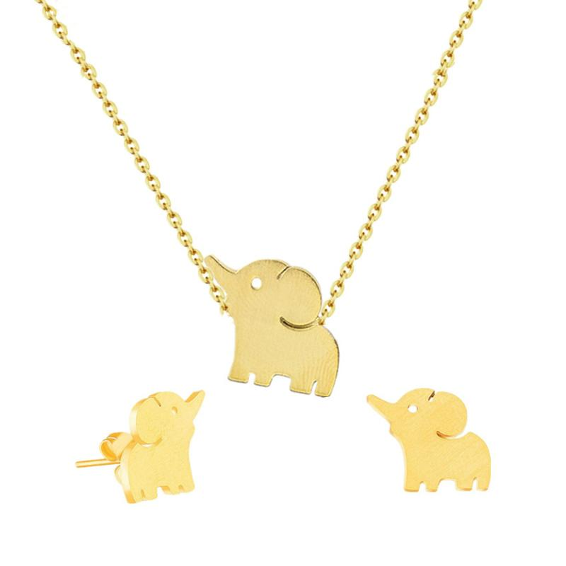 2801df91de8bb Lucky Elephant Necklace Pendant Tattoo Jewelry Set Stainless Steel Stud  Earrings For Women Friendship Gift Collier Bijoux