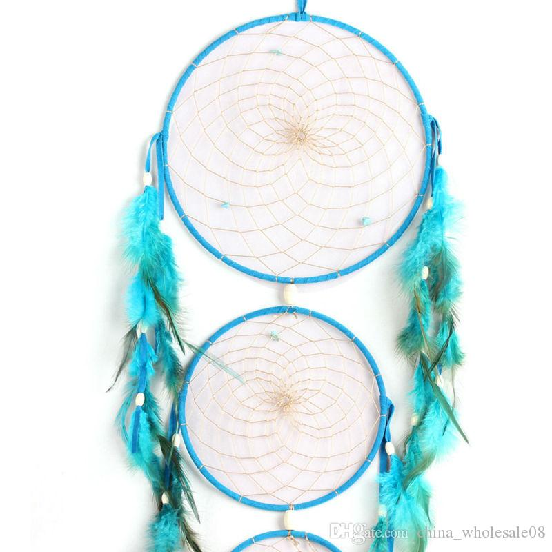 New Styles Indian Blue Dream Catcher Wind Chime Net With Feathers Wall  Hanging Dreamcatcher Craft GiftZI-230