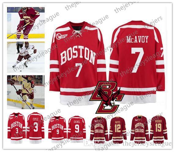 0bf7de908 Boston College Eagles  7 Charlie McAvoy 12 Kevin Hayes 19 Chris Kreider  Good Quality Stitched Red White Yellow Hockey Jerseys Charlie McAvoy Hockey  Jerseys ...