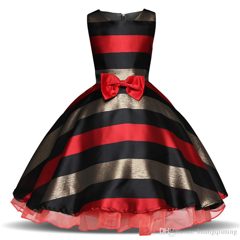 7081fe52e1dfa Summer Kids Dresses For Girl Party Wear Vintage Princess Stripe Gown  Children Clothing Girls Baby 3 6 8 10 Year Birthday Clothes