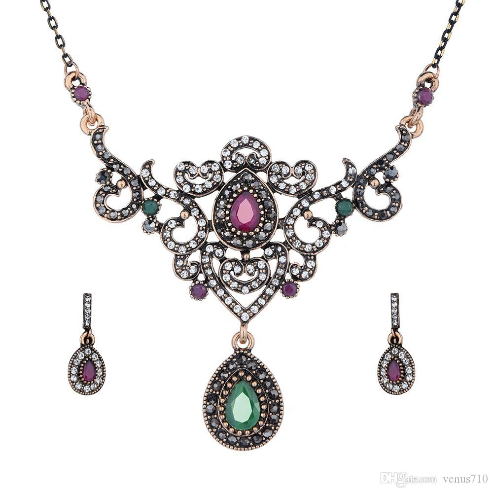 Vintage Turkish Jewelry sets Collares Rhinestone Women Wedding Accessories Fine Bridal Accessories Sets Earrings Necklace Set