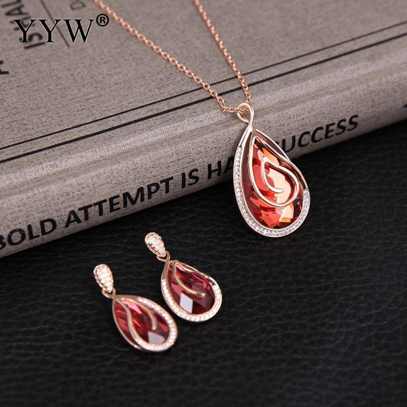 Crystal Jewerly Set Earring Necklace Three Pieces Rose Teardrop Pendant Oval Chain Elegant Charm For Women