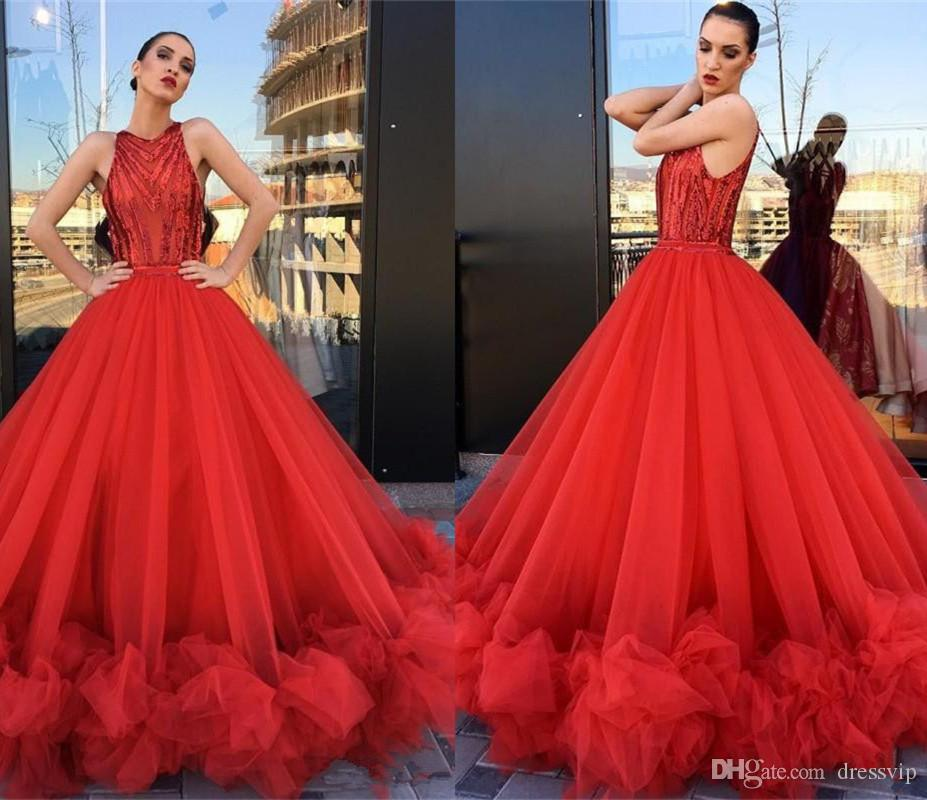 94c83ee681e2b 2018 Sparkly Red Prom Dresses Ball Gown Sequins Floor Length Ruffle Jewel  Neck Illusion Sexy Evening Gowns Sleeveless Formal Dress Party Prom Dresses  For ...