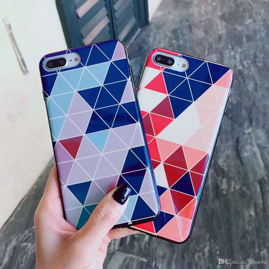 32f5b085aa36cf Candy Color Soft Geometry Phone Case For Iphone 6 6S 7 8 Plus Fashion  Colorful Blu Ray Rhombus Letter Back Cover For Iphone X UK 2019 From  Trust4u