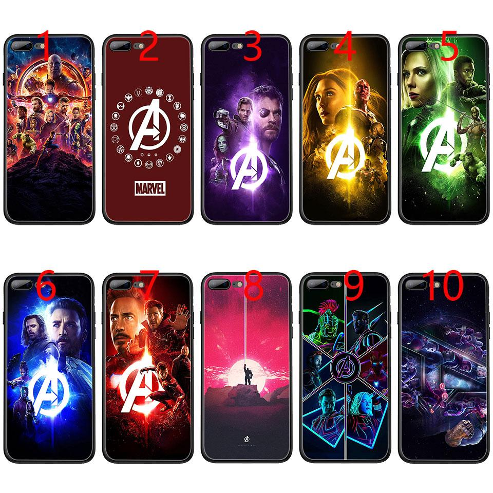 super popular af024 8db16 Marvel The Avengers Infinity War Soft Black TPU Phone Case for iPhone XS  Max XR 6 6s 7 8 Plus 5 5s SE Cover