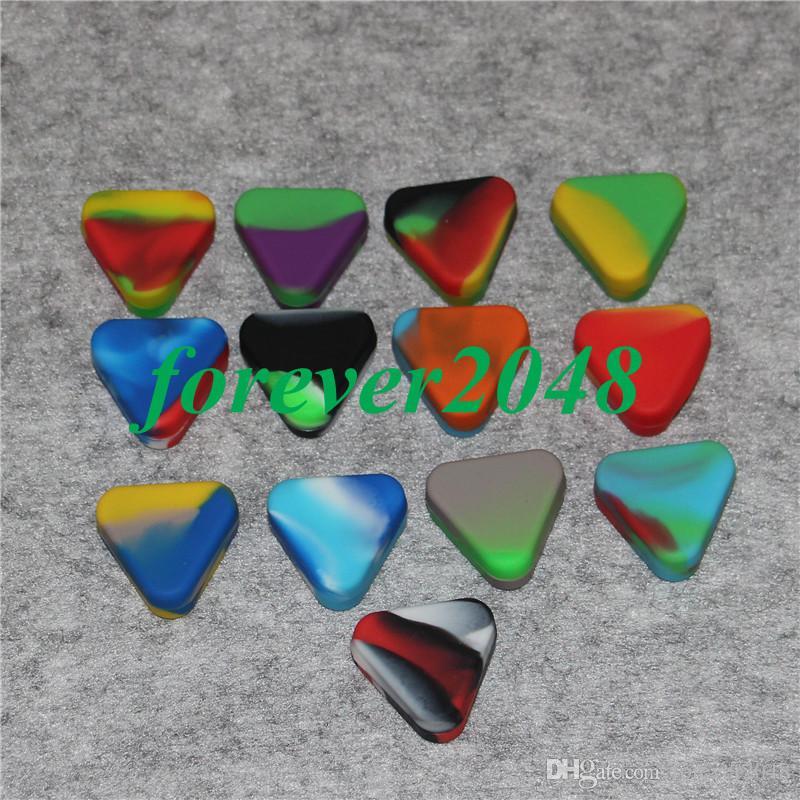 Üçgen Silikon Balmumu Konteyner Kutusu 1.5 ml Silikon Kavanoz Kuru Ot Balmumu Kutusu Konteyner Dab Olmayan Katı Renk Saf Renk Balmumu