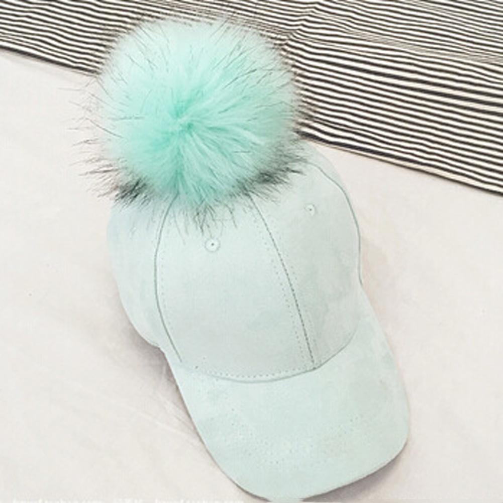 b8665a3c4f6 New Style Women Faux Fox Fur Pompom Baseball Caps Ball Suede Cap Hip Hop  Thick Winter Pom Poms Hats Caps Custom Fitted Hats Design Your Own Hat From  Tonic