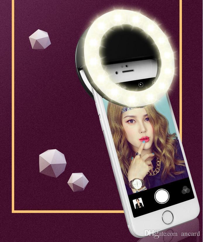 Sıcak RK14 Şarj Edilebilir Özçekim Halka Işık LED Kamera ile Fotoğraf Flaş Işığı Up Özçekim USB Kablosu ile Tüm Telefonlar için Evrensel