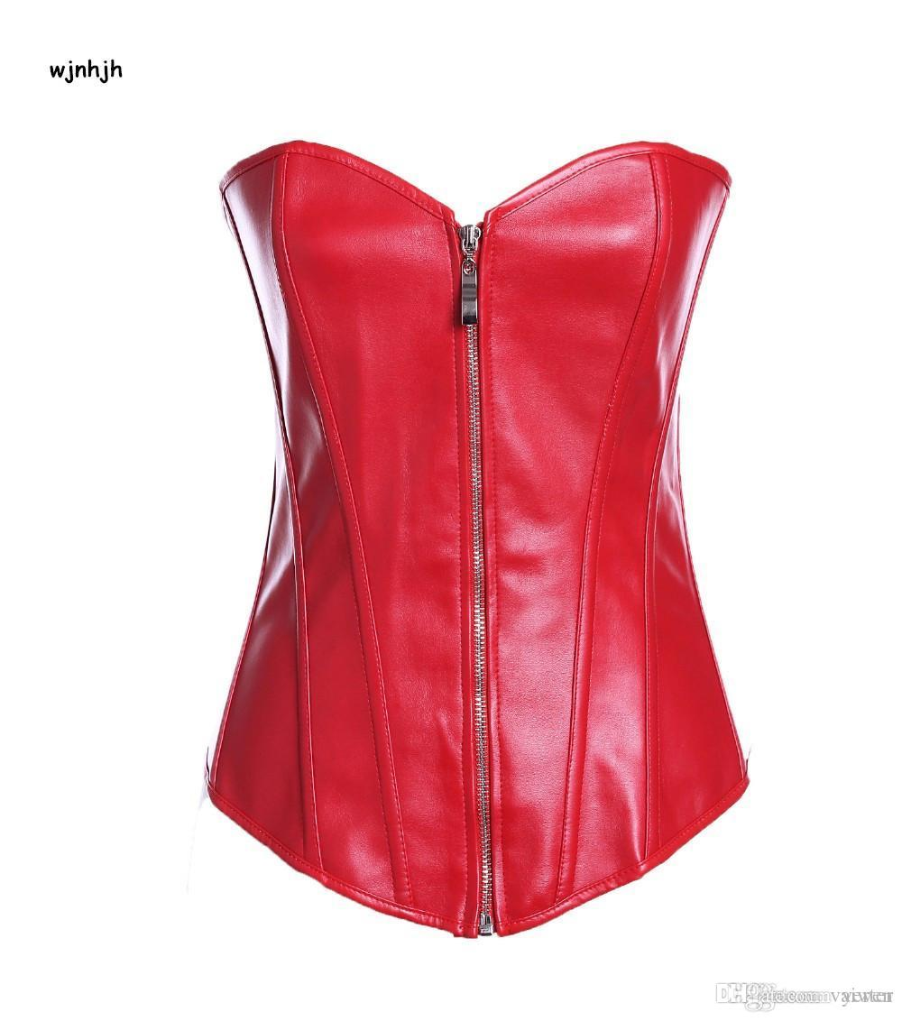 a129382b925aa Wholesale-Red Plastic Bonded Faux Leather Overbust Burlesque Zipper ...