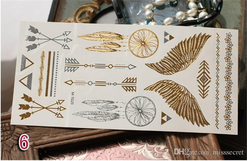 Sıcak Flaş Metalik Geçici Dövme Dövme Malzemeleri Altın Gümüş Su Geçirmez Dövme Takı Kına Dövme Etiket Vücut Sanatı