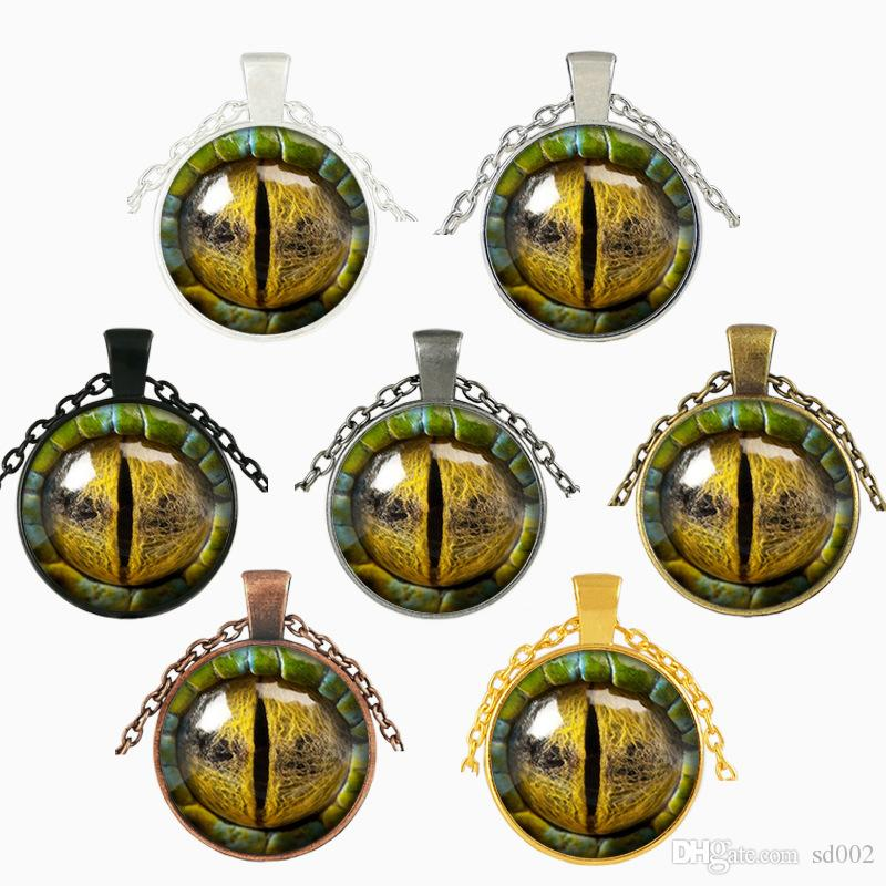 3D Dragon Eye Necklace Time Gemstone Man Woman Glass Cabochon Dome Jewelry Pendant Party Favor Arts Crafts Gifts 3 5jj bb