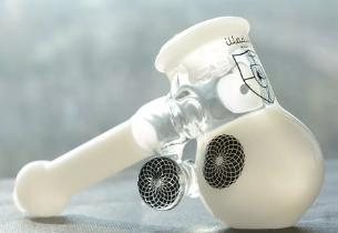 Heady Hammer Bubbler Black Glass Hand Pipe Classic White Bubbler Smoking Pipe Thick Handle Glass Pipe
