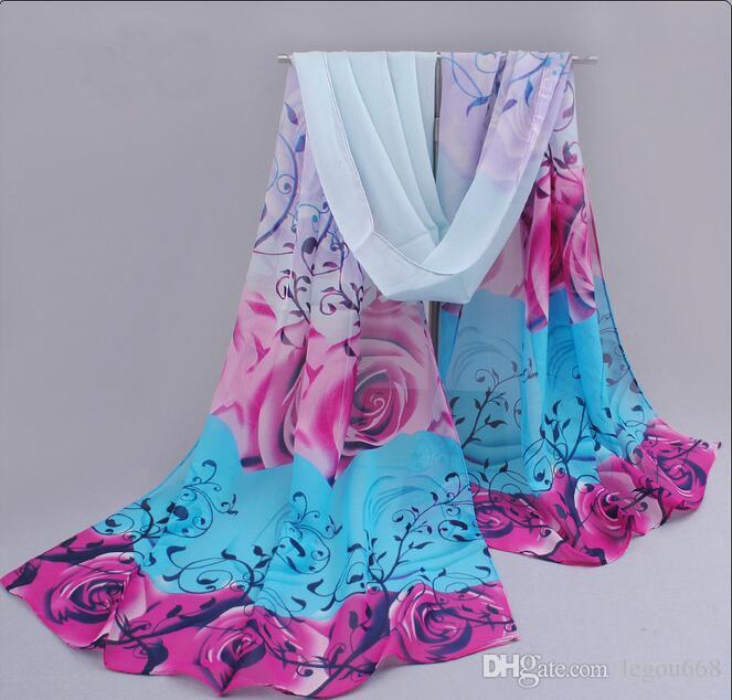 2018 rose print gasa bufandas de poliéster mujer chal fino turbante cinturón hijab moda bufandas árabes abrigo