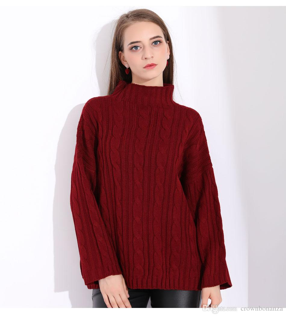 2019 Winter Turtleneck Tops Women Sweater Knitted Female Jumpers Ladies Red  Oversized Sweater Oversized Sweater Women Pullover 2018 From Crownbonanza 1a2dd497d