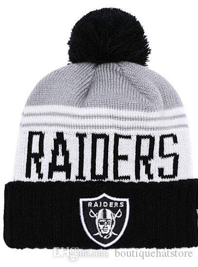 reputable site 868f7 e59f3 ... closeout 2018 high quality mens oakland raiders cuffed pom beanie hats  knitted sf beanie wool warm