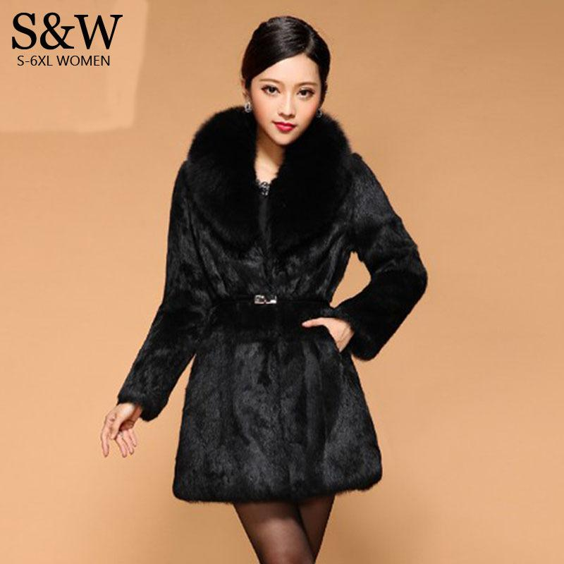 7a97d8aecef Big Size 5XL 6XL Warm Winter Women s Medium-long Fox Fur Collar Thick Faux  Fur Coats Black