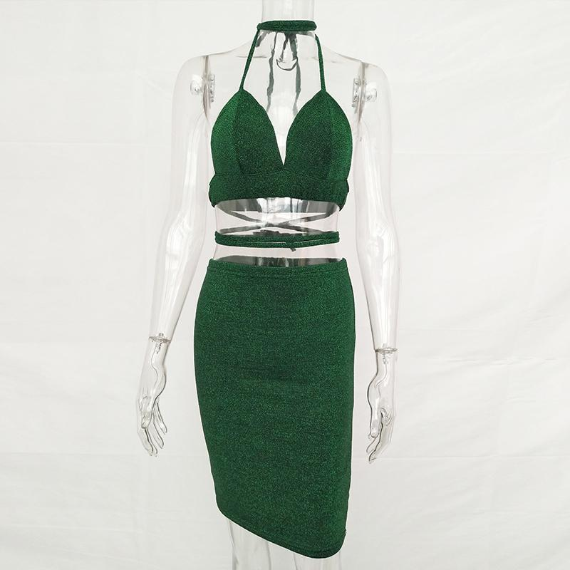 Sexy Shiny Bandage Bodycon Dresses 2017 Summer Lace Up Two Piece Party Dresses Deep V Neck Skinny Club Outfits Vestidos