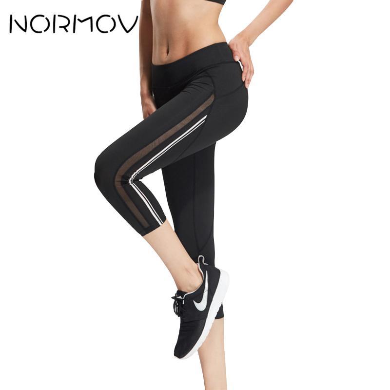 5191c24e09b0a1 2019 NORMOV Solid Running Yoga Pants Women Fitness Clothing Mesh Legging  Sport Femme Training Side Stripe Capri Pants Female Hot From Monida, ...