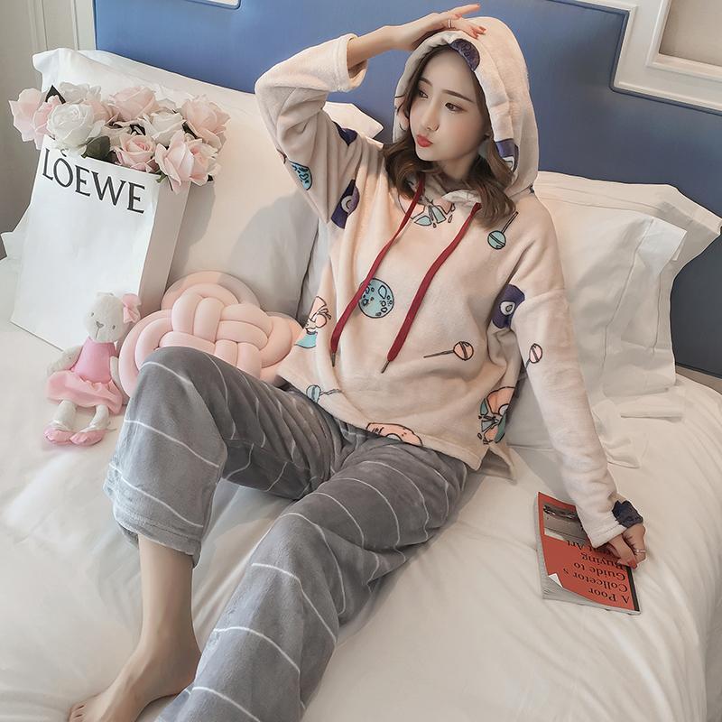 2018 Winter Thick Warm Flannel Hooded Pajama Sets Women Long Sleeve Coral  Velvet Pyjama Girls Cute Print Sleepwear Suit Homewear UK 2019 From Bowse c287fd5d2