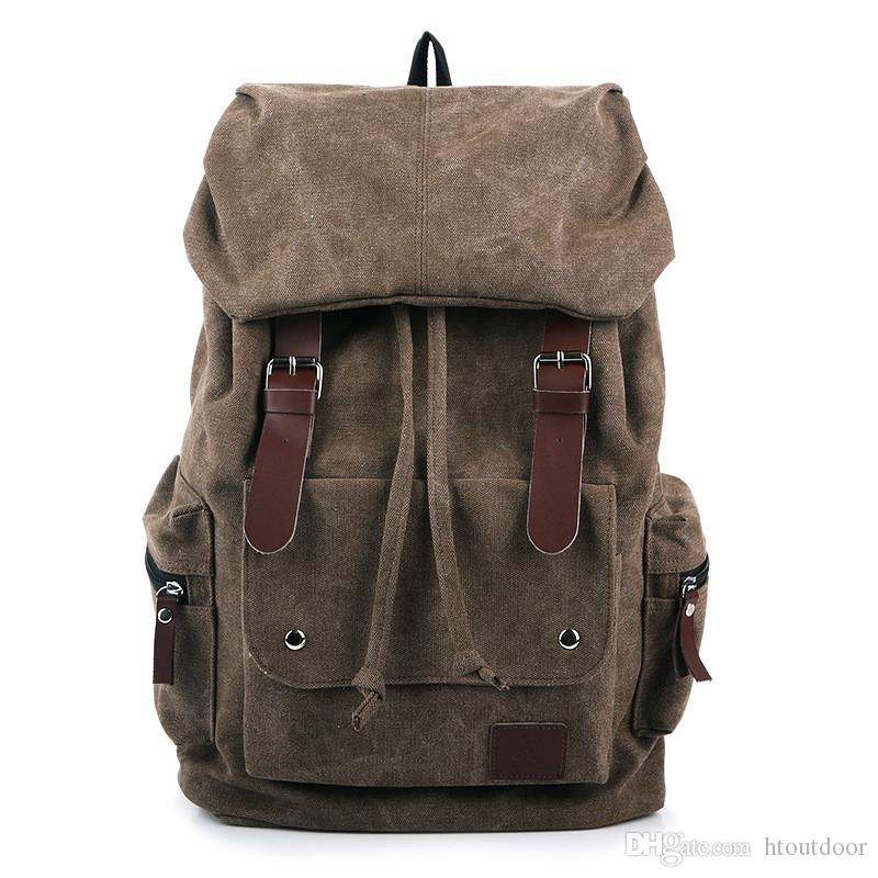 599cfeb459f0 2019 Canvas Backpack Vintage Outdoor Military Leather Rucksack Laptop  Backpack Satchel School Bag For Men Women Traveling Hiking From Htoutdoor