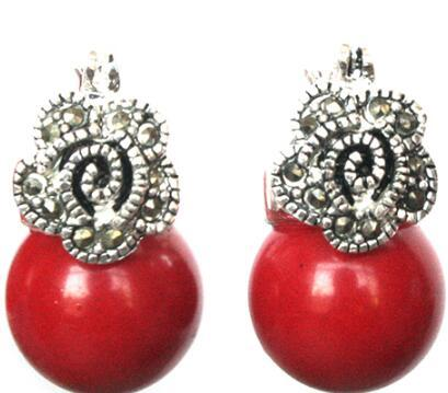Free Shipping Lady's 12mm Red Coral Bead Flower Marcasite & 925 Silver Earrings